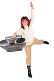 Red-haired woman with radio Stock Images