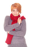 Red haired woman with scarf on a winter day Royalty Free Stock Photos