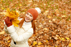 Red-haired woman smiling happy autumn Royalty Free Stock Photography