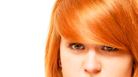 Red haired woman in studio close up. royalty free stock image