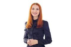 Red-haired woman talking about the important information Stock Image