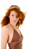 Red haired woman with  tiara Stock Photos