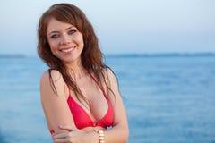 Red haired woman wearing bikini Royalty Free Stock Photo