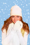 Red Haired Woman Wearing Warm Winter Clothing royalty free stock images