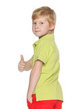 Red-haired young boy with his thumb up Royalty Free Stock Photos