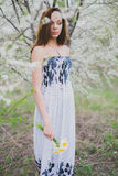 Red-haired young lady with daffodils in spring orchard Royalty Free Stock Photos