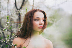 Red-haired young woman in spring orchard Royalty Free Stock Images