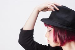Red hairs and Black hat Stock Photos