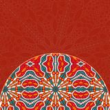 Red Half Mandala Decor Element Card Stock Photos