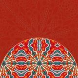 Red Half Mandala Decor Element Card Stock Photos