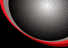 Red halftone background. Halftone dot background with red and black corner curls Stock Photos