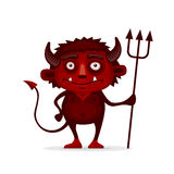 Red Halloween Devil with Trident in Cartoon Style Stock Image