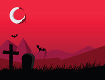 Red Halloween night. Vector image of Red Halloween night Royalty Free Stock Photos