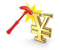 Red hammer and yen symbol. Stock Image