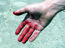 Red hand. Red bloody hand on the sun royalty free stock photography