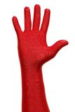 Red hand. Strange hand with a red glove Royalty Free Stock Images