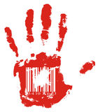 Red hand. Identification. Red handprint with barcode Stock Images