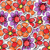 Red hand-drawn flowers Royalty Free Stock Image