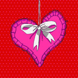 Red hand drawn heart with white bow Stock Photos