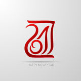 2017 Red hand drawn numbers. The year of the rooster. Lettering Stock Photos
