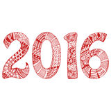 Red 2016 with hand-drawn pattern. Hand-drawn New Year 2016 numerals with ornate unique pattern in zentangle style. Red and white illustration Stock Images