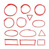 Red hand drawn shapes marker for highlighting text isolated on white background. Marker red drawing, hand drawn, circle illustration stock illustration