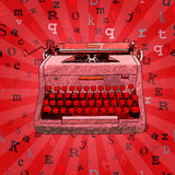 Red Hand Drawn Typewriter Seamless Design Stock Photo