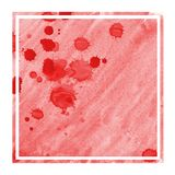 Red hand drawn watercolor rectangular frame background texture with stains. Modern design element royalty free illustration