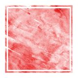 Red hand drawn watercolor rectangular frame background texture with stains. Modern design element royalty free stock photography