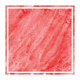 Red hand drawn watercolor rectangular frame background texture with stains. Modern design element royalty free stock images