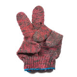 Red hand glove. Sign language red hand glove Stock Photography