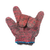 Red hand glove. Sign language red hand glove Royalty Free Stock Image