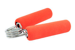 Red hand gripper on white background Royalty Free Stock Photography