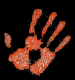 Red hand imprint with hay Royalty Free Stock Photo