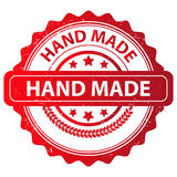 Red Hand Made Stamp Design Stock Photo
