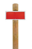 Red hand-painted prohibition warning sign board horizontal metal. Signage, white frame, wooden pole post copy space background, old aged weathered isolated Royalty Free Stock Photos