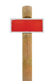 Red hand-painted prohibition warning sign board horizontal metal signage, white frame, wooden pole post copy space background, old Stock Image