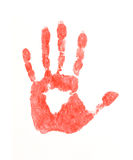 Red hand print. On white background Royalty Free Stock Photo