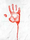 Red Hand Print. On a white wall Royalty Free Stock Photos
