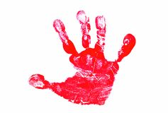 Red Hand Print. Isolated on White Background royalty free stock photo