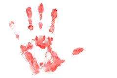 Red Hand Print. Left hand print made with red paint on white background Stock Photos