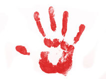 Red hand print. Isolated over white background Stock Images