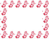 Red hand print border. Red hand border on a white background Royalty Free Stock Photos