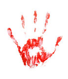 Red hand print. Isolated on white background Royalty Free Stock Image