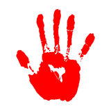 Red hand print on white background Royalty Free Stock Images