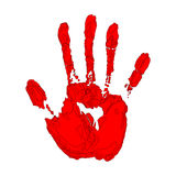 Red hand print on white background Stock Photography