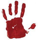 Red hand print on white background stock image