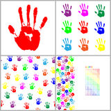 Red hand print on white background vector Seamless pattern set. Red hand print on white background vector illustration, Seamless pattern set Royalty Free Stock Photography