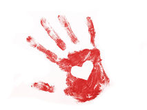 Red hand print with white heart inside. Isolated over white background Royalty Free Stock Photography