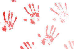 Red hand prints Stock Photo